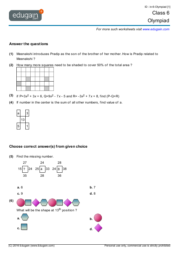 math worksheet : math olympiad worksheets 6th grade  educational math activities : Math Olympics Worksheets