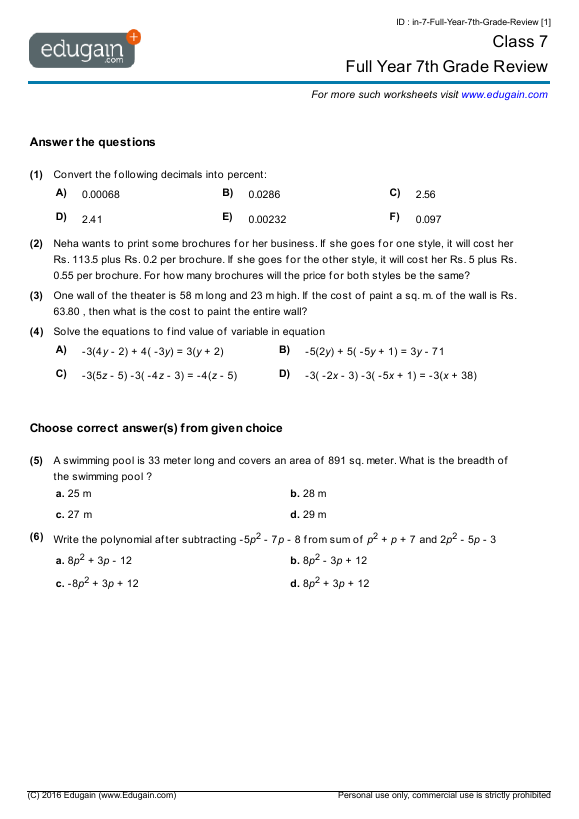 Grade 7 Math Worksheets and Problems Full Year 7th Grade Review – Grade 7 Math Integers Worksheets